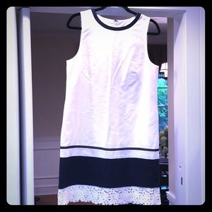 Classic Navy/White striped and lace summer dress